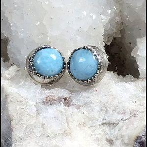Larimar & Sterling Silver Stud Earrings, NEW